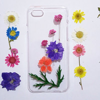 iPhone 6 cover case,Pressed Flower iPhone 6 Plus Case, iPhone 6s Case, Clear iPhone 6 Case, iPhone 6 Plus Case clear,daisy iphone case