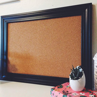 Black Framed Memo Board / Bulletin / Office / Organize / Wall Decor Display / White / Jewelry Hanger / Necklace Display Organizer