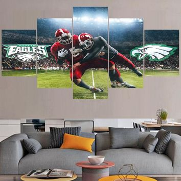 5 Pcs/set Rugby Philadelphia Eagles Full Logo Paintings Wall Art Home Decor Picture Canvas Painting Calligraphy For Living Room