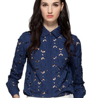 Blue Shirt Collar Cut Out Floral Embroidery Long Sleeve Blouse