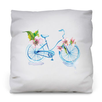 Floral Bike Throw Pillow