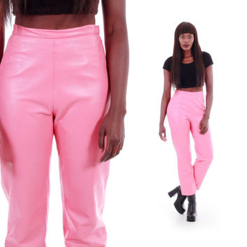 Pink Leather High Waist Pants Shiny Bubblegum Tapered Trousers 80s 90s Vintage Clothing Womens Size Small
