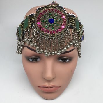 Kuchi Headdress Headpiece Afghan Ethnic Tribal Jingle Alpaca Bells Glass,CK645