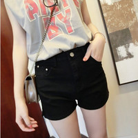 Thin Solid Color Denim Shorts