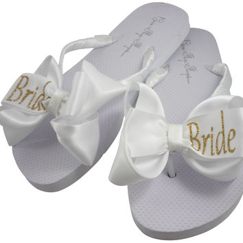 Bride Flip Flops with GlitterBows- white with gold, silver or pink