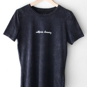 California Dreaming Relaxed Tee - Acid Wash Black