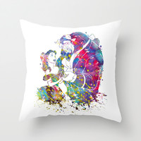 Beauty and the Beast Throw Pillow by Bitter Moon