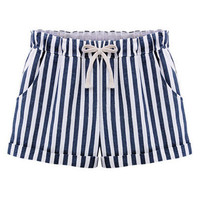 Striped Elastic Waist Lace-up Shorts