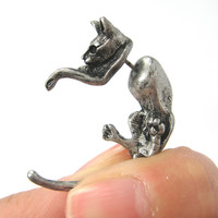 Fake Gauge Earrings: Realistic Kitty Cat Pet Animal Shaped Plug Stud Earrings in Silver