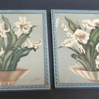 Vintage De Jonge Signed Lilly Floral Blue Framed Picture