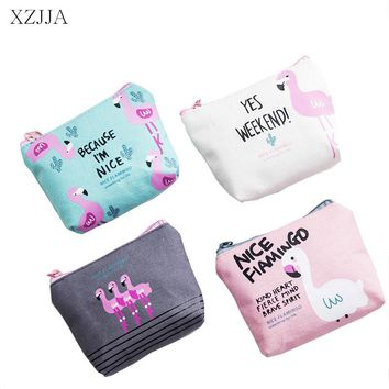 XZJJA Portable Cute Mini Flamingos Headphone Zipper Storage Bag Organiser Girl Canvas U Disk Data Line Dust proof Storage Pouch