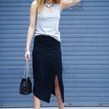 MICHELLE MASON | High Slit Wrap Skirt - Black