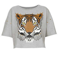 Embellished Tiger Crop