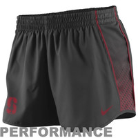 Nike Stanford Cardinal Ladies Stealth Pacer Performance Shorts - Charcoal