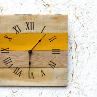 Pallet Wood Clock.  Custom Color...Mustard Yellow...or Choose Your color...Great Gift Idea.  Summer, sunny.  Eco-Friendly Wall Clock