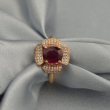 Floral Red Tourmaline Rubellite Pave Set Diamond Ring in 18k Rose Gold Engagement Wedding Birthday Anniversary Valentine's