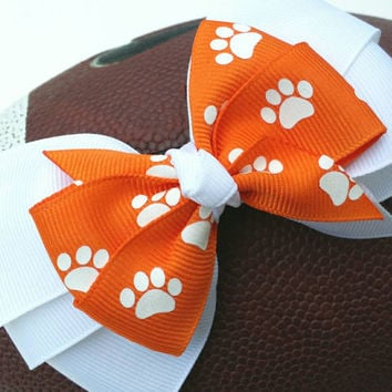 Orange and white hair bow, paw print, back to school bow, football team colors, stacked grosgrain ribbon 4 inch, alligator clip, layered bow