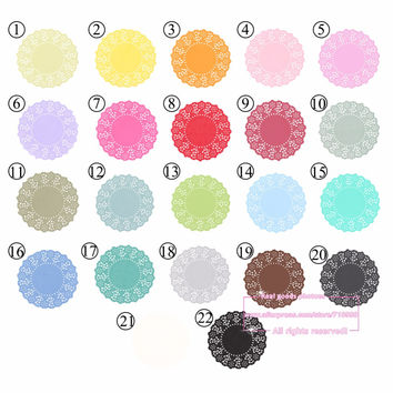 20pcs,  4.5 Inch Total 23 Colored Vintage Lace Round Paper Doilies Paper Scrapbooking Craft Doyley for Halloween Christmas #0-65