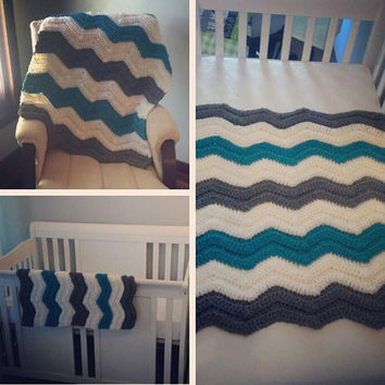 crochet chevron baby blanket by TaliaCreations on Etsy