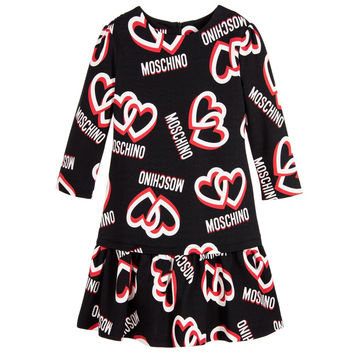 Moschino Girls Logo Hearts Black Dress