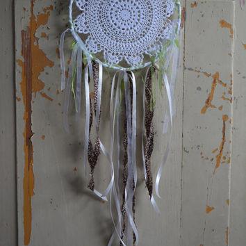 A vintage lace doily dream catcher in Fresh green, Brown and White shades --- A vintage elegant touch or an special present