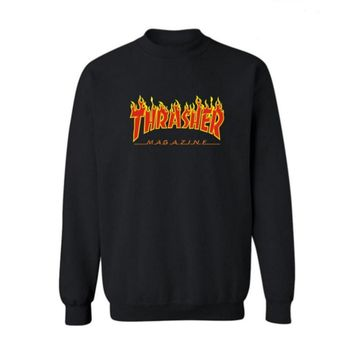 Fall and Winter Thrasher Flame Skateboard Tide Death Hip Hop West Coast Harajuku cotton round neck sweater Red letters