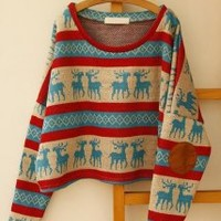 Christmas Fawn Stripe Sweater - Designer Shoes|Bqueenshoes.com