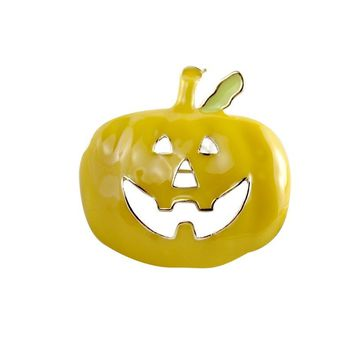 Cute Enamel Yellow Pumpkin Brooches for Women 2018 New Fashion Halloween Brooches Pin Jewelry Festival Gift for Child Friend