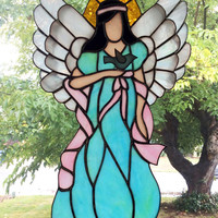 Angels, Stained Glass Angels, Angel Suncatcher, Angel Decor, Stain glass Angel, glass art, Angel suncatcher, prism suncatcher