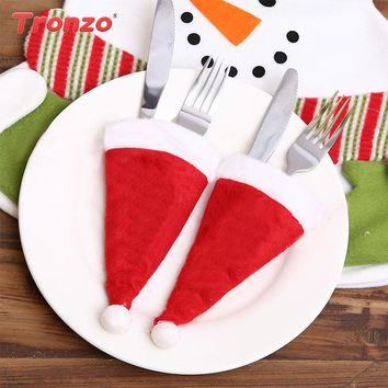 Tronzo Christmas Hat Silverware Holders Cover 10pcs Christmas Decorations For Home Natal Navidad Nonwoven Knife Fork Covers