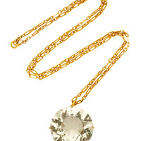 One-Of-A-Kind Gold Antique Huge Citrine Necklace On Handmade Chain | Moda Operandi