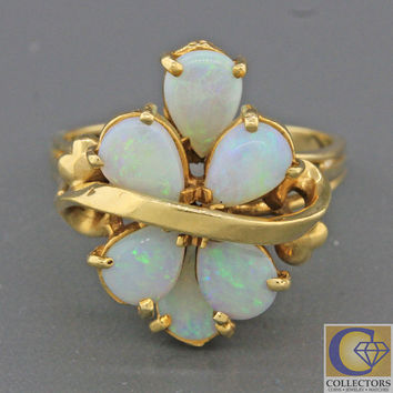 Vintage Estate 14k Solid Yellow Gold Pear Shape Opal Cluster Cocktail Ring
