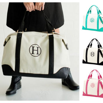 10% Off Sets of 4, 5, or 6 Monogrammed Weekender Canvas and Leatherette Sullivan Bridesmaids Bag Gift Bundles With Free Shipping