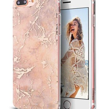 Iphone 7 Plus Caseiphone 8 Plus Casespevert Marble Pattern Hybrid Hard Back Soft Tpu Raised Edge Ultra Thin Shock Absorption Protective Case For Iphone 7 Plus/iphone 8 Plus   Rose Gold