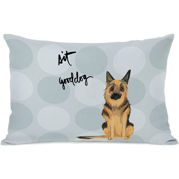 """Pup Words German Shepard"" Indoor Throw Pillow by April Heather Art, 14""x20"""
