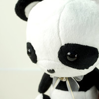 Cute Panda Plush Stuffed Animal Toy Black White Contrast Plushie - Bellzi Pandi