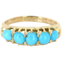 Antique Deco Turquoise 18 Karat Gold Ring Band Vintage Fine Jewelry Heirloom Old