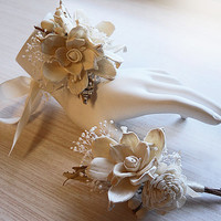 Wrist Corsage and/or Boutonniere, Sola Flowers, Rustic, Country, Winter, Woodland, Wedding, Corsage, Boutonniere. Made to Order.