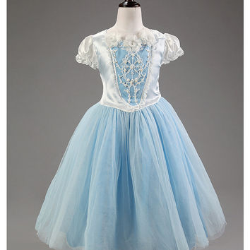 Kids Girls Party Dresses Cinderella Dress Flower Cartoon Princess Costume Girls Snow Dresses Girl Wedding Clothes Chrismas Dress