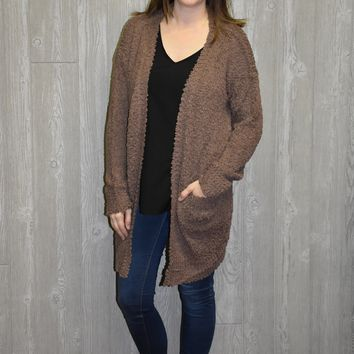 Touch of Winter Cardigan: Brown