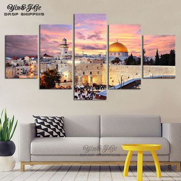 Modular Paintings Wall Art 5 Pieces Islamic Arabic Calligraphy Muslim Building Pictures HD Printed On Canvas Decor Living Room
