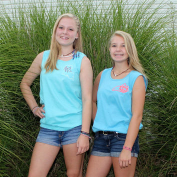 Monogrammed Tank Tops Spring Break Beachwear Comfort Colors