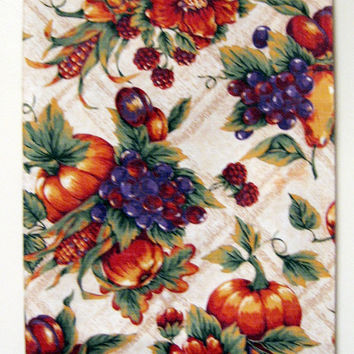 Harvest Tablecloth vintage 80s Pumpkins Pears Indian Corn Grapes Apples Plums Berries 52 x 70 Rectangle Stain Release Fall Autumn