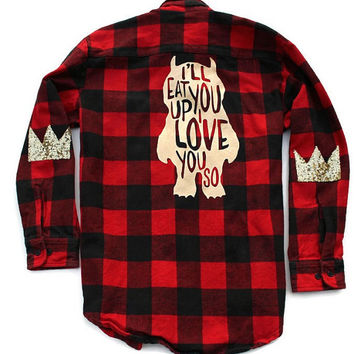 Buffalo Plaid Flannel Shirt. Ill Eat You Up I love You So. Where the Wild Things Are. Crown Elbow Patch. Sequin Elbow Patch. Graphic Shirt