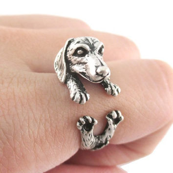 Antique Silver Realistic Dachshund Dog Puppy Animal Wrap Ring for Girl Women Gift