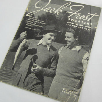 Vintage 1947 Jack Frost Knitting Patterns Booklet Men & Boys Sweaters Gloves Scarves Socks Recreate Mad Men Look