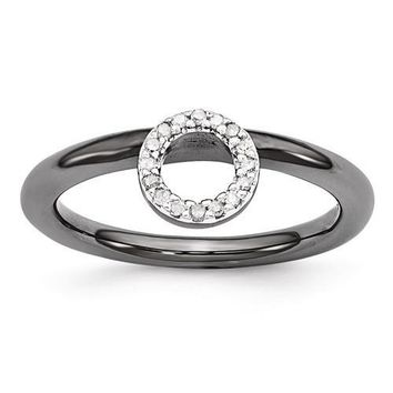 Black-Plated Sterling Silver Stackable Expressions Halo Diamond Ring