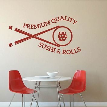 ik2786 Wall Decal Sticker Asian food sushi Japanese restaurant stained glass