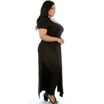 Women Seductive Black Solid O-neck High Split Maxi Dress