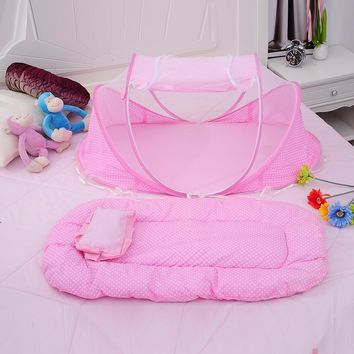 3 Pieces Set Folding Baby Bedding Crib Net, Mattress & Pillow for Baby Bed